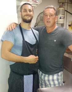 Chris, chef at Saltaire gives Don a tour of the kitchen